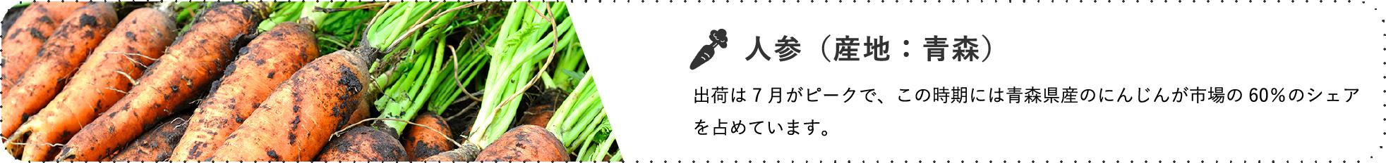 人参(産地:青森) / 出荷は7月がピークで、この時期には青森県産のにんじんが市場の60%のシェアを占めています。